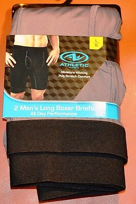 b1f8e5ec26926a MENS NEW UNDERWEAR Athletic Works Long Boxer Brief 2 Pack Size L ...