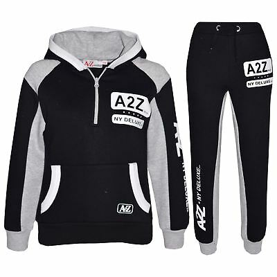 Kids Jogging Suit Boys Girls Designer's Tracksuit Zipped Top Bottom 7-13 Years