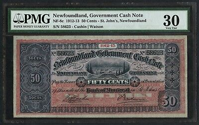 #NF-8c 50¢ GOV'T CASH NOTE NFLD ST. JOHNS PMG 30 VF VERY HIGH QUALITY WLM4420
