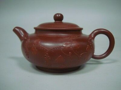 Fine Rare Chinese ZiSha Pottery Hand Carving Purple Sand Clay Teapot Marks
