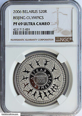 Belarus 2006 Silver 20 Roubles. Beijing Olympics. Ngc Pf-69 Ultra Cameo.