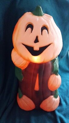 Vintage Light Up Pumpkin Blow Mold Plastic Halloween Yard Decor 32 inches tall