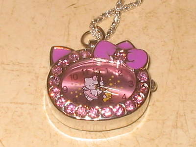 New Hello Kitty Watch Pendant Necklace With Crystal Accents - Purple