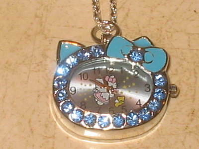 New Hello Kitty Watch Pendant Necklace With Crystal Accents - Blue