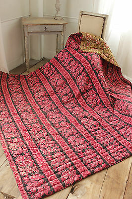 Antique French quilt  DOUBLE sided black BOUSIS red khaki pinks old  c1870