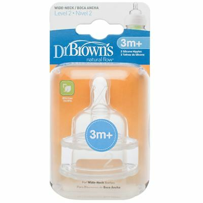 2 x Dr Brown's Options Level 2 Baby Bottle Teats Nipple Pack Narrow BPA Free 3m+