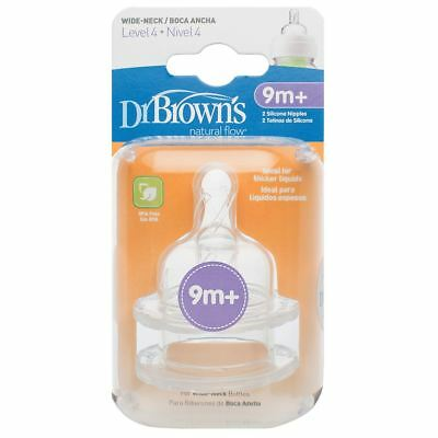 2 x Dr Brown's Options Level 4 Baby Bottle Teats Nipple Pack Narrow BPA Free 9m+