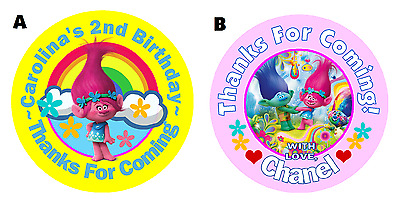 Poppy Trolls Personalized Birthday Round Party Stickers Favors ~ Various Sizes
