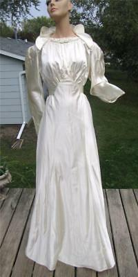30S Deco Ivory Satin Bias Cut Wedding Dress Gown 38W Stand Up Collar