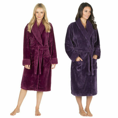 Ladies Womens Waffle Dressing Gown Fleece Shawl Collar Robe Nightwear Plain New