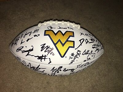 2017-2018 West Virginia Mountaineers Team Signed Football Grier Crawford