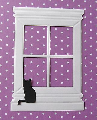 10 x WHITE EMBOSSED Die'sire  WINDOW DIE CUTS + 10 SITTING BLACK CAT  FREE P & P