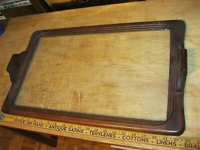 Vintage Serving Tray - Wood and Glass