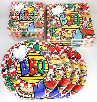 Mixed Lot of 12 pkg BACKYARD BBQ Chef Picnic Summer Party Paper Plates/Napkins