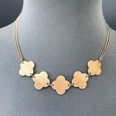 Simple Bohemian Rose Gold Finished 2 Tone Color Triple Clover Shape Necklace