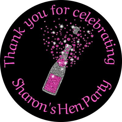 PERSONALISED GLOSSY CHAMPAGNE BOTTLE 30th 40th HEN  BIRTHDAY STICKERS ANY AGE
