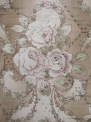 Antique French Art Nouveau quilt faded floral BEAUTIFUL boutis c1900