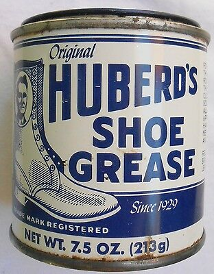 Vintage HUBERD'S Shoe Grease Tin - Neat Graphics, Still a little product inside