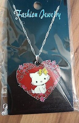 Hello Kitty Etched Heart Necklace Red Valentines