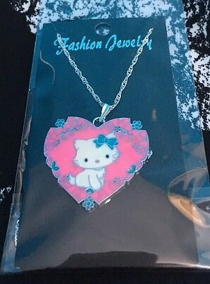 Hello Kitty Etched Heart Necklace Pink Valentines