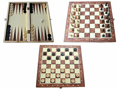 Wooden Board Game Set Compendium Travel Games Chess Backgammon Draughts