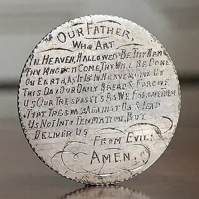 A Tiny Coin Engraved With The Lord's Prayer. George V Sixpence, c.1914.