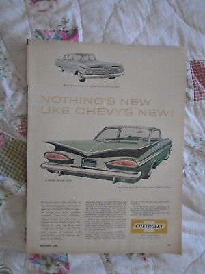 L26 1959 Chevrolet Bel-Air 4dr & Impala 2dr coupe Canada print ad advertisement