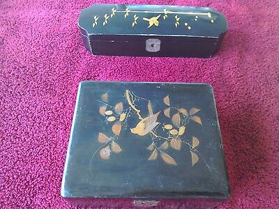 Antique Japanese paper mache black laquered decorated boxes. A/F