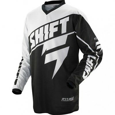 Shift Assault Black And White Motocross Jersey Kids Youth Childs Bmx Mtb Top