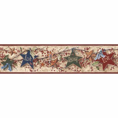 York Wallcoverings Border Book RF3521BD Star Berry Border, Tan/Burgundy