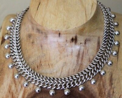 Vtg Mexico Sterling Art Deco Dangle Double Curb Link Necklace 116 Grams TAXCO