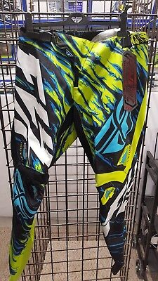 """Fly Racing Kinetic Pant - LIME/BLUE PANTS  """"Relapse"""""""