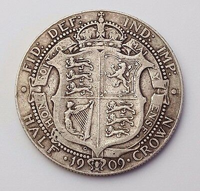 Dated : 1909 - Silver Coin - Half Crown - King Edward VII - Great Britain UK