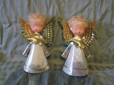 lot of 2 Vintage paper cone Angels with plastic heads & goldtone wings - fragile