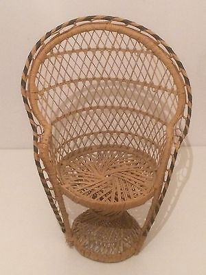 Wicker Peacock Style Chair for Teddy or Dolls Display VGC Rare Collectable