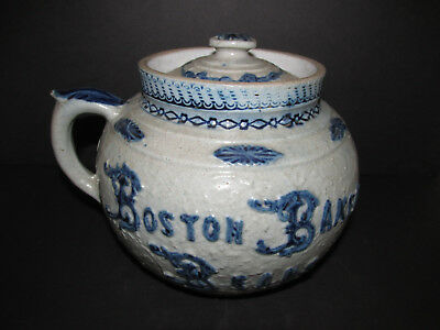 Antique Stoneware Bean Pot, Whites Utica, late 19th century