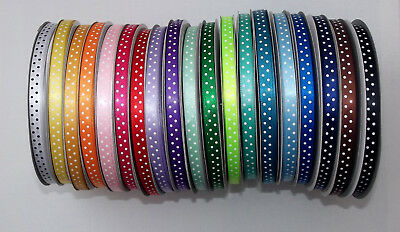 """Polka Dot Satin Ribbon 10mm (3/8"""") wide 1m 2m 5m or 10m lengths Lots of Colours"""