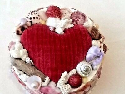 Sailor Valentine Seashell Box Heart Pincushion Shells Driftwood Pearl