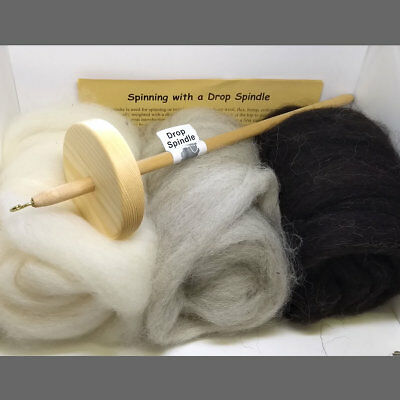 Wool spinning kit with CLASSIC drop spindle, combed top, instructions & bag