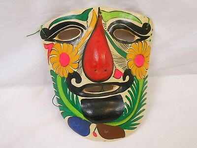 Vintage Handpainted Clay Mexican Folk Art Mask