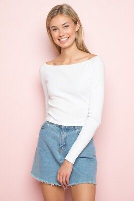 8d7c7e89f7 Brandy Melville white ribbed crop fitted off- shoulder mayson top NWT sz S