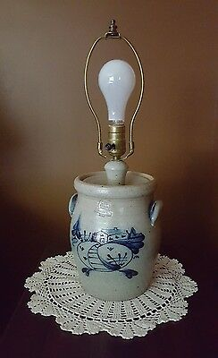Rowe Pottery Salt Glazed Crock Style Country Barn Scene Lamp; 1987 Excellent