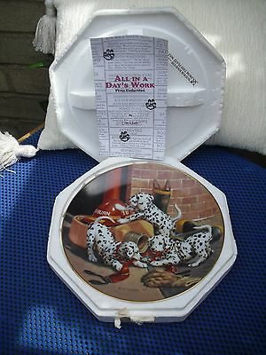 "The Hamilton Collection "" Where's The Fire"" Dalmatian Plate with Certificate."