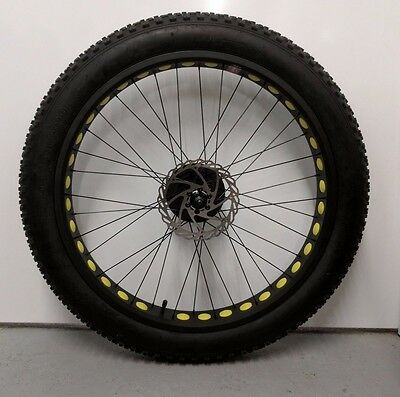 "26"" Fat bike rear wheel with 4.0 tyre , 7 speed cog and disc rotor"