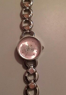 Sanrio Hello Kitty Watch Round Pink Face Enamel Metal Watchband 2005 New Battery