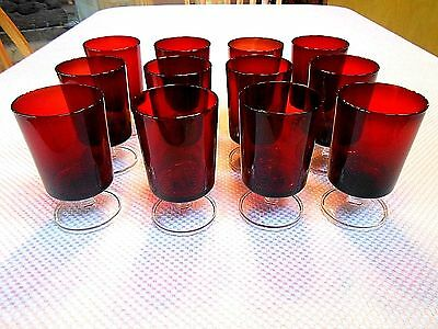 Nice 12 Pc. Set of LUMINARC Ruby Red Water Glasses w/Clear Stem & Foot - France