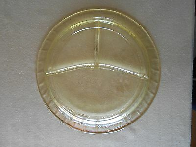 """Vintage 10 1/2"""" Rd Amber Dep. Glass, Hocking Cameo, 3 Sect Divided Grill Plate"""