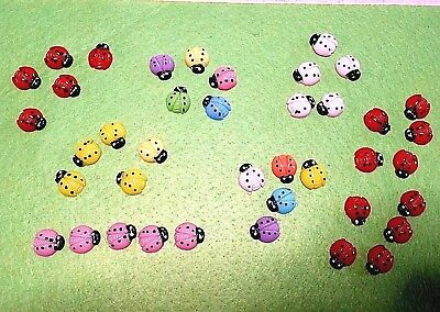 5 or 12 Resin Ladybugs Ladybirds Flat Backs Scrap Booking Craft Terrarium Fairy