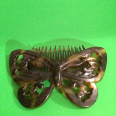 Tortoise Amber Butterfly Hair Comb