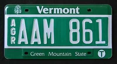 """VERMONT """" AGRICULTURE - AGR - GREEN MOUNTAIN - TREE """" VT Specialty License Plate"""